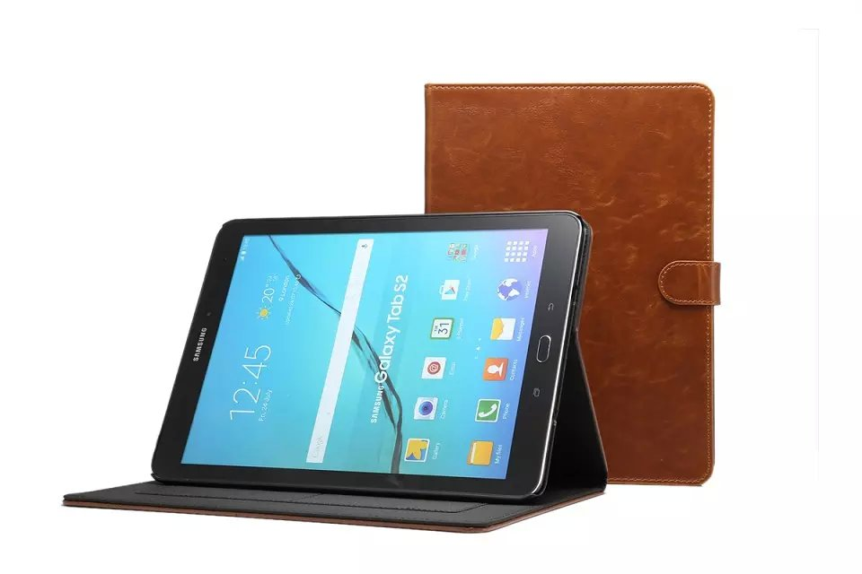 Luxury Crazy Horse Leather Case For Samsung Galaxy Tab S2 8.0 T710 SM-T715 T715 Tablet Folding Stand Book free shipping(China (Mainland))