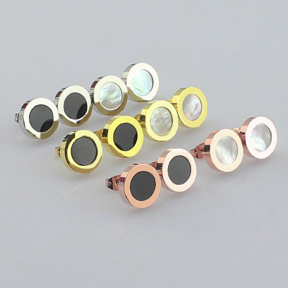 Titanium stainless steel White Seashell Black Agate Stone round Stud Earrings 18k Rose/Yellow/White Gold Plate Women Men Jewelry