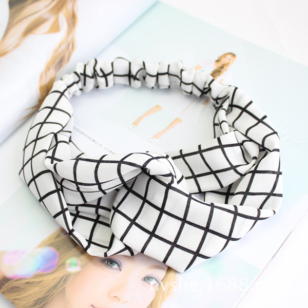 MENG Women Print Flower Hair Ornaments Girl Plaid Headband Chiffon Cross Elastic Hair Accessories H07054(China (Mainland))