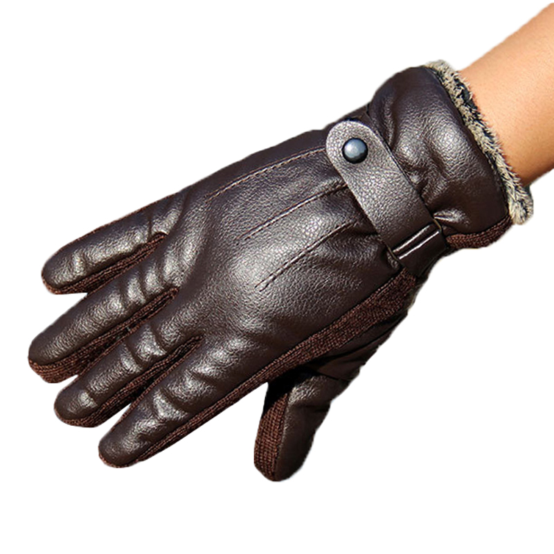 New Fashion Men Gloves Synthetic Leather Fashion Mens Wrist Gloves Mittens For men Warm Winter Gloves(China (Mainland))