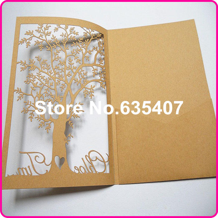 Brown Tree Shape Laser Cutting Wedding Invitation Card Model On Aliexpress