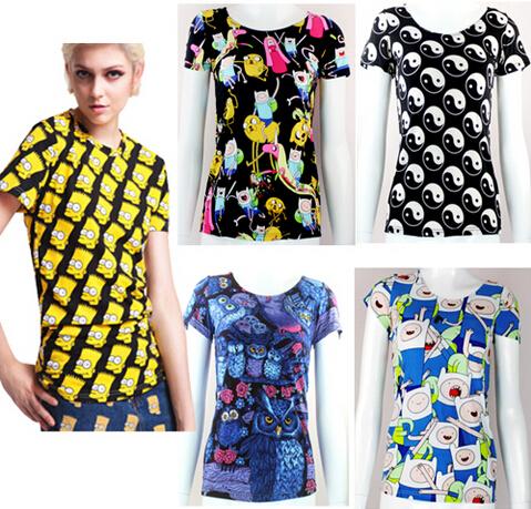 EAST KNITTING fashion New 2015 women summer tee shirt Cartoon adventure time Print ladies tops punk rock plus size free shipping(China (Mainland))