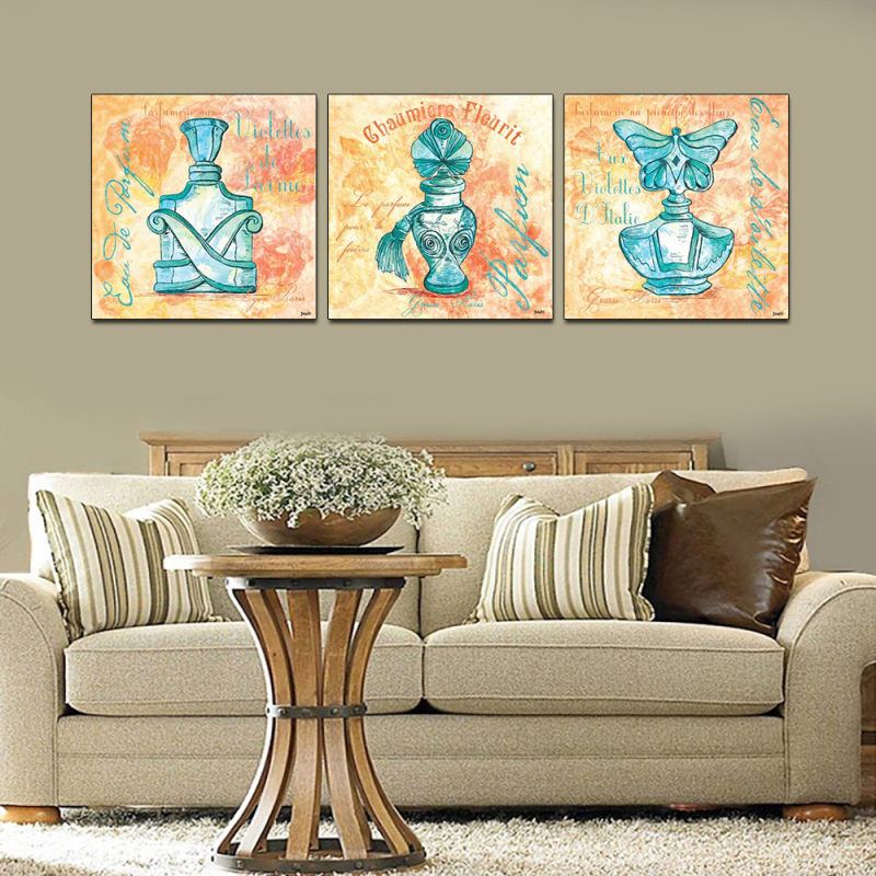 "Limited 3pcs wall art about ""Famous perfume"" wallpaper combination modern oil painting wall pictures for living room MB-UFO10(China (Mainland))"