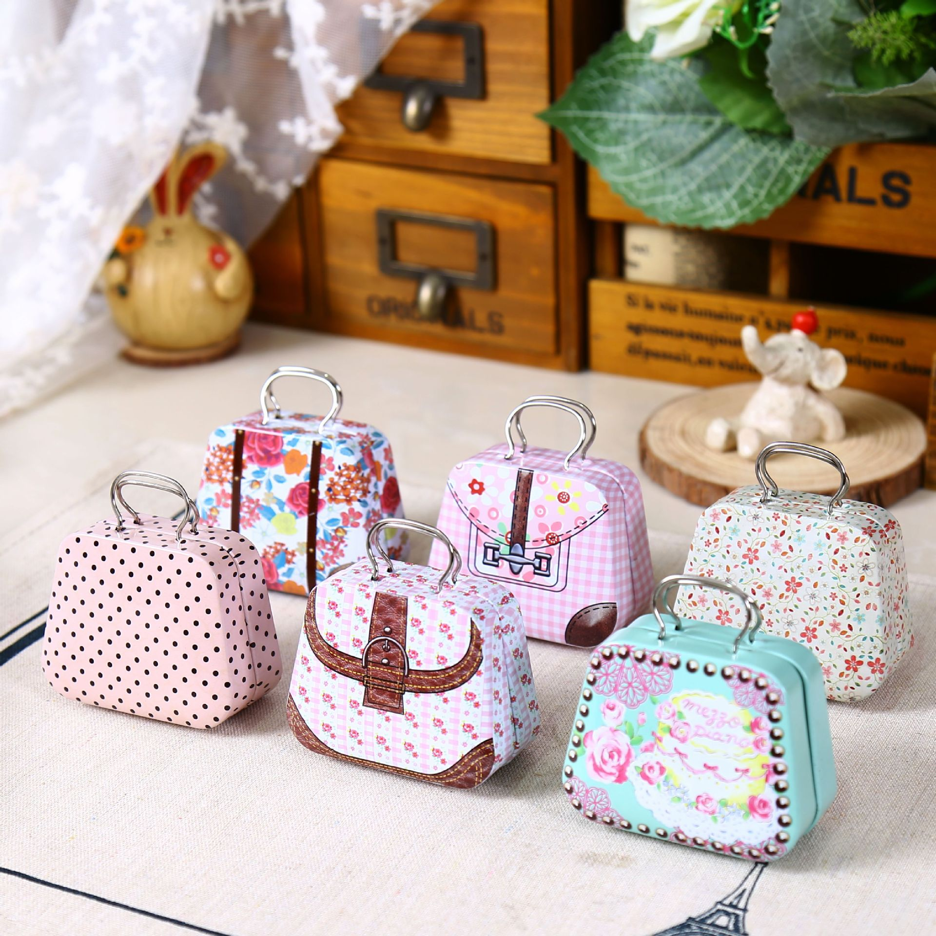 AliExpress.com Product - Zakka Style Creative Mini Handbag Shaped Tin Storage Box Coin Organizer Earphone Can Wedding Candy Box 7*3.3*5.5cm 1 Piece