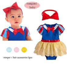 Summer Baby Girls Cotton Rompers+Headband Set Children Cartoon Animation Snow White Rompers Costume Kids Clothing Set(China (Mainland))