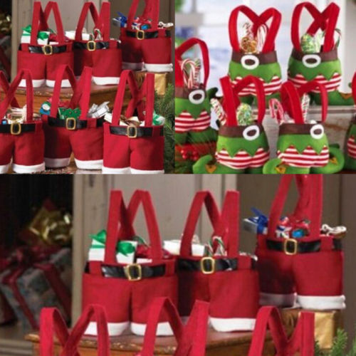 Fashion SaleFree shipping Christmas Santa Pants Elf Spirit Candy Bags Xmas Decoration Sack Cute Child Gift b066(China (Mainland))