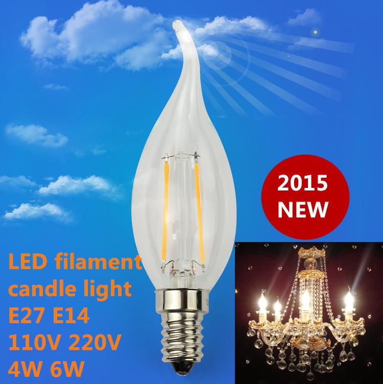 1X Edison Filament Dimmable Led Candle Lamp 4W 6W E14 E27 B22 Led Bulbs Light High Bright 120LM/W Led Lamp AC 220V(China (Mainland))