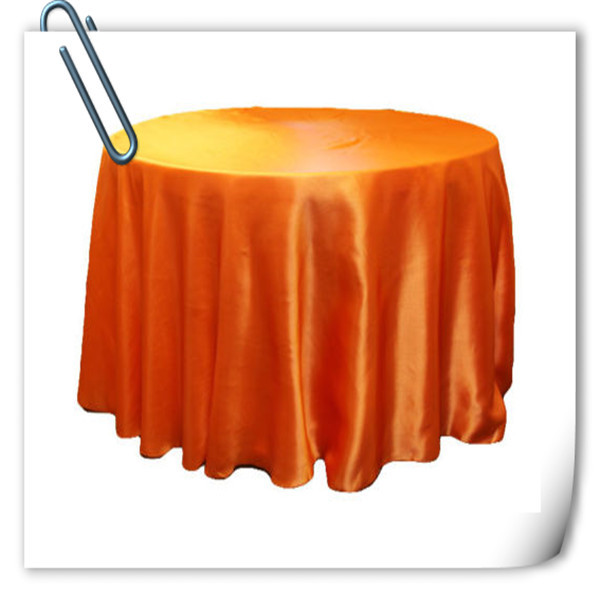 Hot Sale !!! Orange 90inch 10pcs Satin table cloth for weddings parties hotels restaurant Free Shipping(China (Mainland))