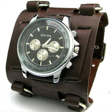 Nueva venta caliente Rock / Gothic / Punk Stlye hombres o señora reloj Brown 7.5 CM ancho del manguito de cuero Real de grandes relojes moda