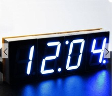 DIY 4 Digit LED Electronic Clock Kit Large Screen Red Blue Green LED With Case(China (Mainland))