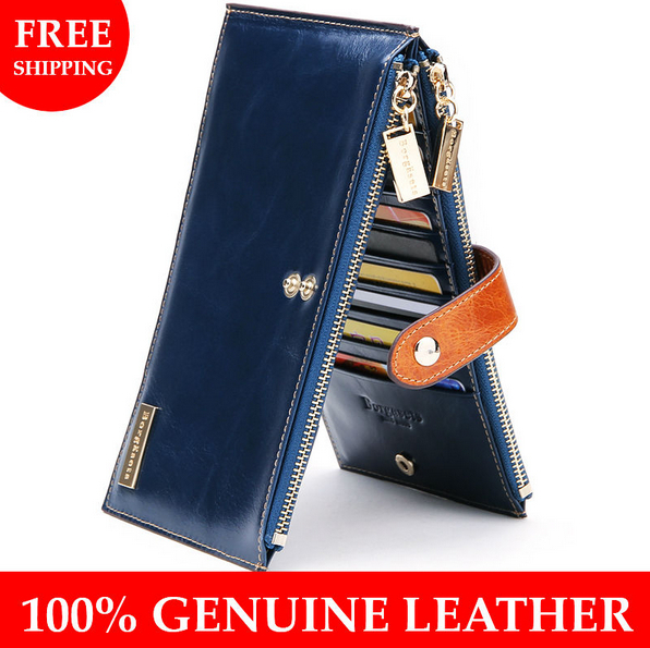 Borgasets Female Wallet Double Zipper Ladies' Clutch Fashion Women's Coin Purse, bifold clutch wallet, drop shipping - Genuine Leather Bags[Gz] store
