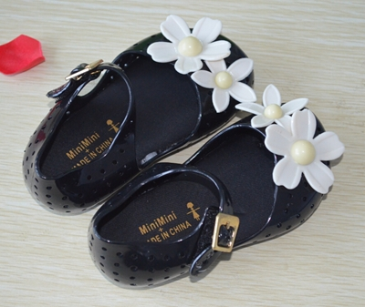 Summer Style 2015 Mini Melissa Kids sandal fashion flower Grils shose soft leather flat heel velcro chica sandalias WD323(China (Mainland))