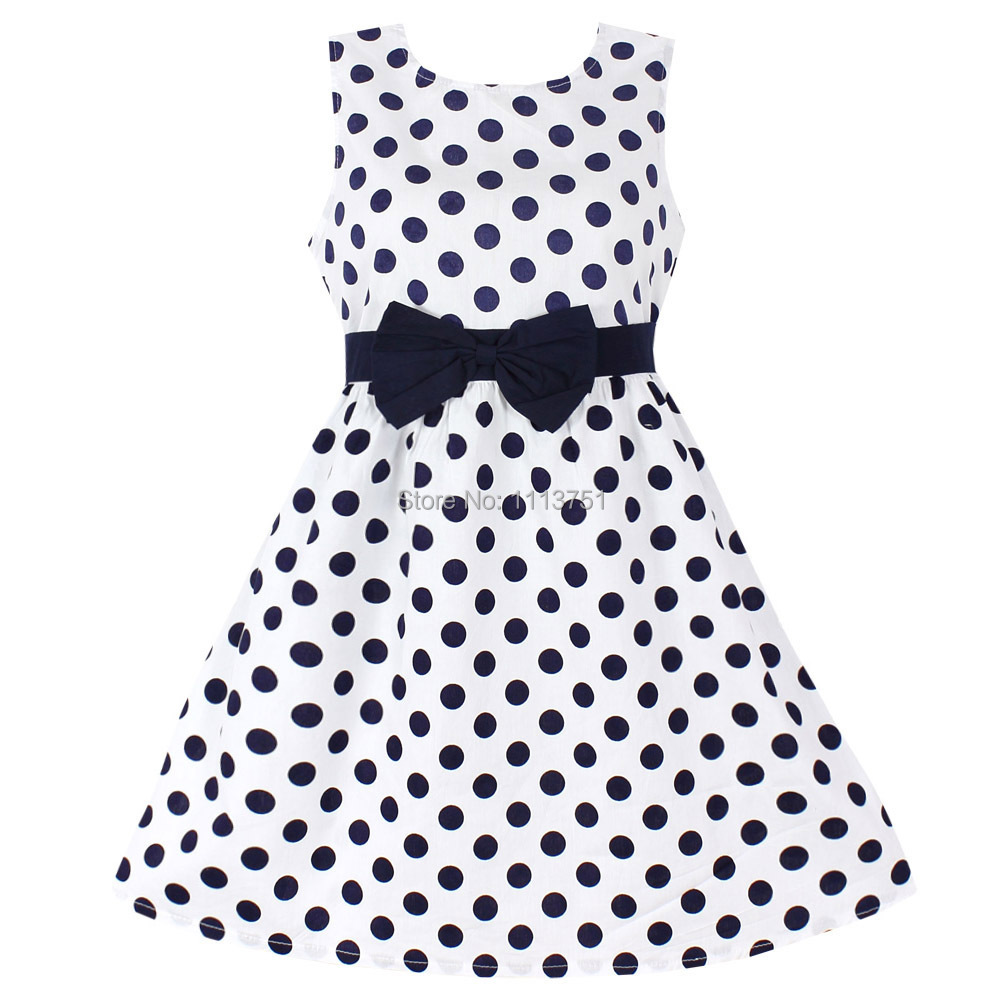 New Fashion Girls Dresses Blue Dot Cotton Sundress Party Birthday Casual Baby Children Clothes Size 2-12(China (Mainland))