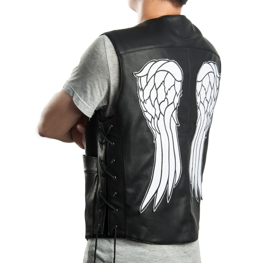 The walking dead governor - daryl dixon angel wings faux leather vest jacket(China (Mainland))