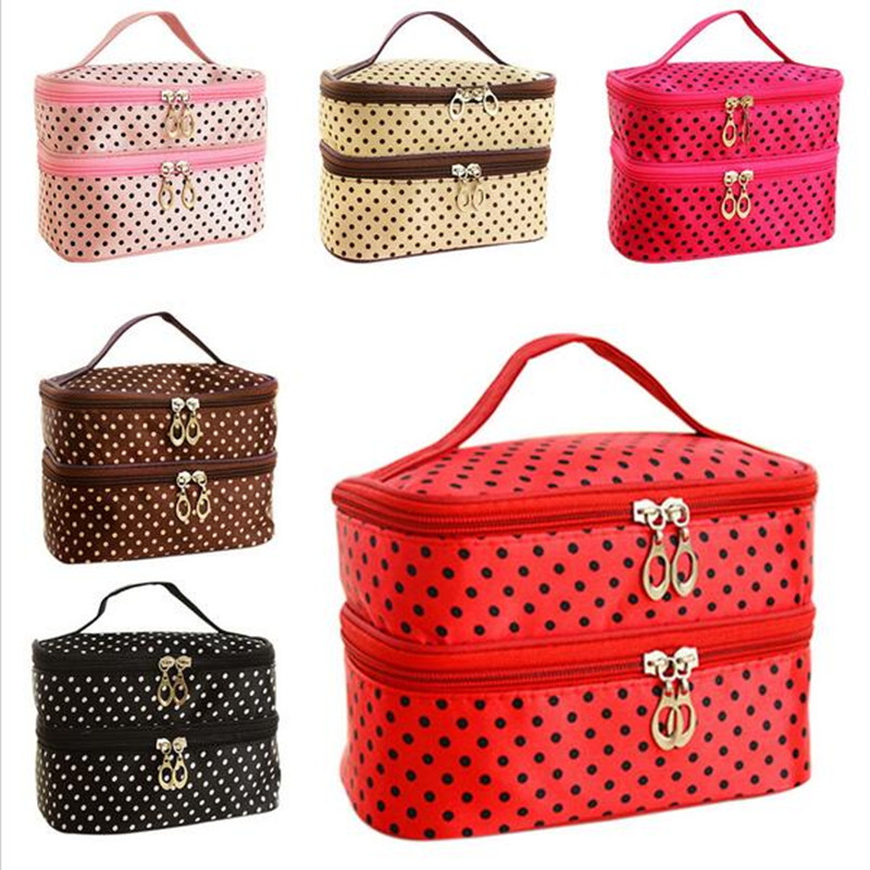 Double Layer Small Dots Cosmetic Bag Makeup Tool Storage Bag Multifunctional Storage Package(China (Mainland))