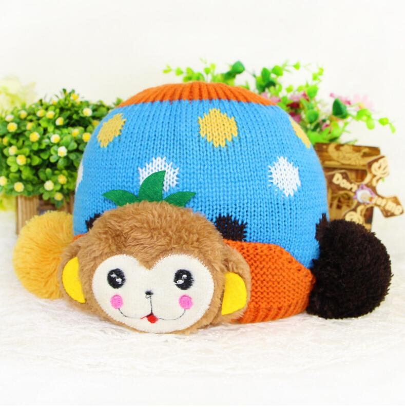 New Arrival Monkey Design Baby Hat Knitting Kat For Kids Crochet Children Hat Baby Hats Caps Baby Hats For Winter 5 colors(China (Mainland))