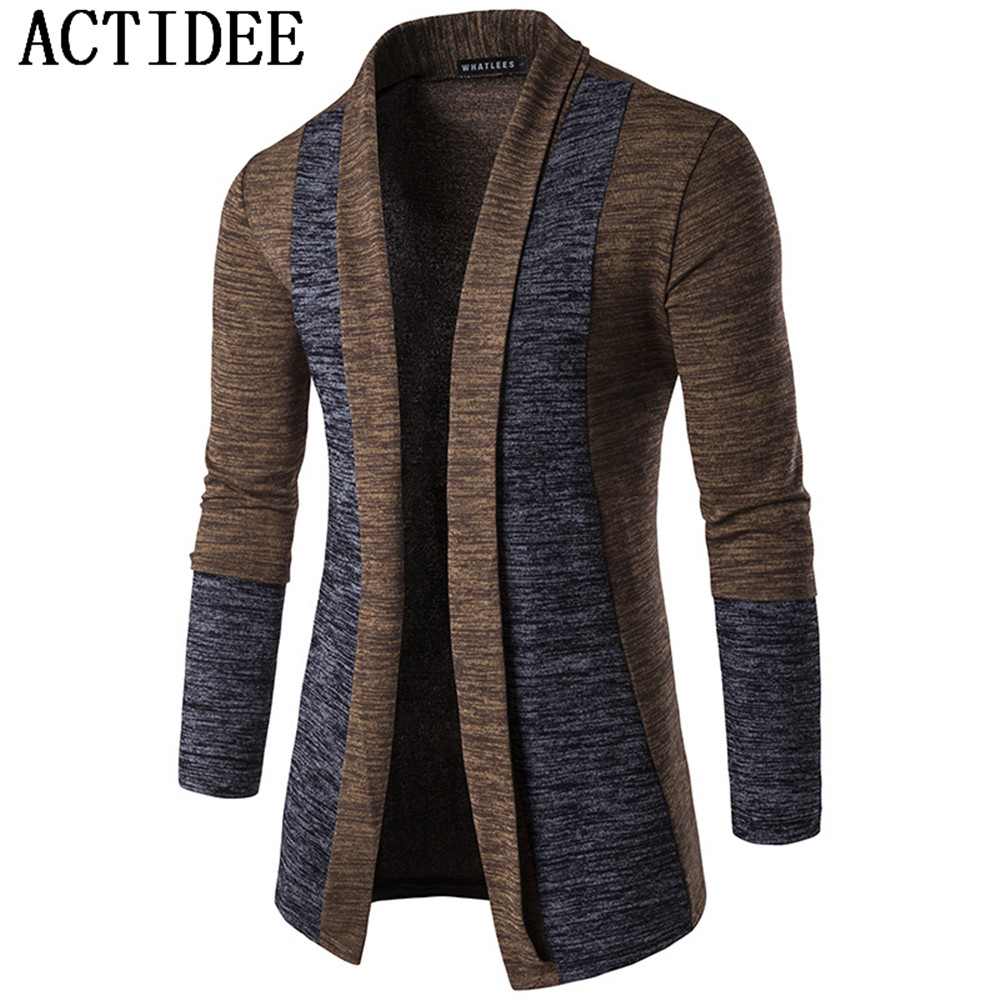 New Brand ACTIDEE 2017 New Spring Autumn Mens Patchwork Fashion Cotton Knitted Cardigan Man Sweaters Mens Knitwear Clothes 5z(China (Mainland))