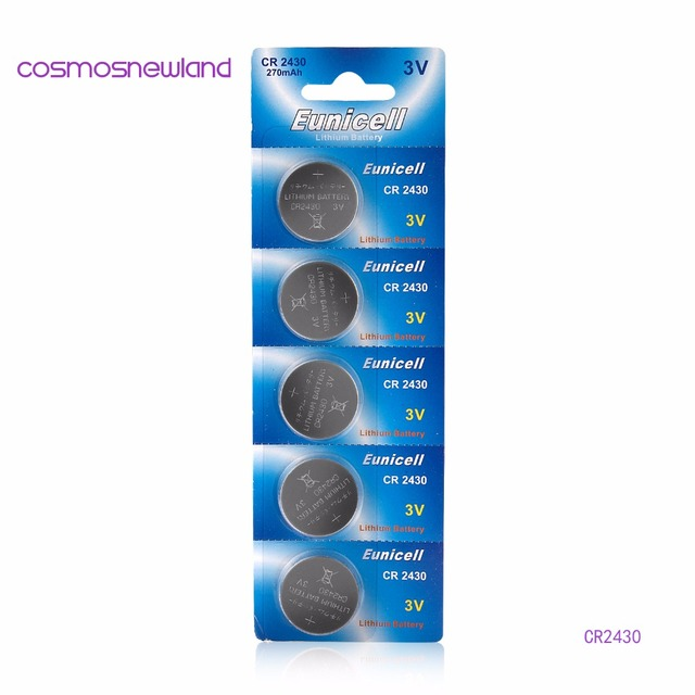 5pcs/lot CR2430 DL2430 ECR1620 5011LC KCR2430 L20 3V lithium button cell coin battery for watch toy, Cosmosnewland battery