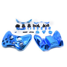 Fashion Blue Chrome Full Shell Case +Button For Microsoft Xbox 360 Wireless Controller Replacement Repair