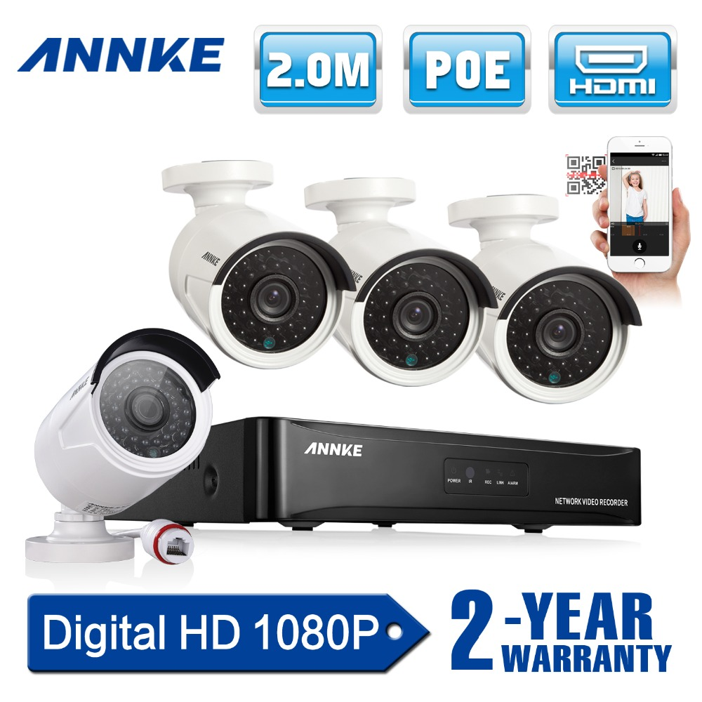 ANNKE 4CH 1080P CCTV System POE NVR 1080P Video Output 4PCS 1500TVL 2.0 mp CCTV IP Camera Home Security Surveillance Kits(China (Mainland))