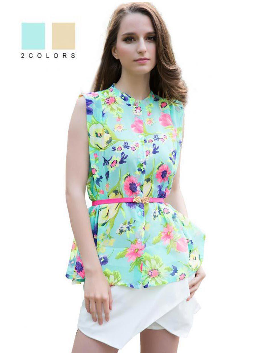 Fashion Summer Style Plus Size Sleeveless Chiffon Floral Blusa Feminina Blouse Shirt for Women print Ropa Mujer Belt Free(China (Mainland))