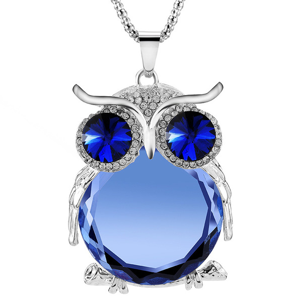Charm Multicolor CZ diamond Blue Crystal Owl Animal rhinestone Silver Gold Trendy Long Chain Pendant Necklace Jewelry for Women(China (Mainland))