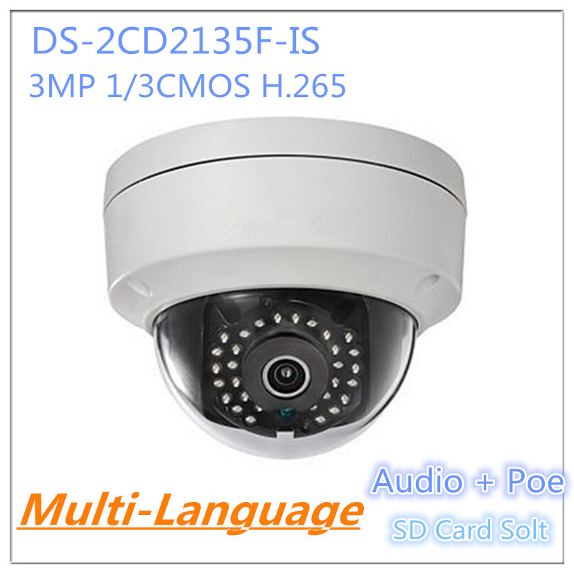 Фотография HIK Camera DS-2CD2135F-IS Mini Dome Camera Support SD Card PoE Audio and Alarm I/O IP Camera Security System