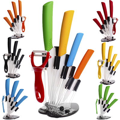 """Home Kitchen Dining Bar Ceramic Knife and Accessories Set Paring Fruit Utility Chef 3"""" 4"""" 5"""" 6"""" inch with Peeler Acrylic Holder(China (Mainland))"""