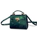 Lovely Candy Color Glazed Leather Handbag Women Trendy Designer Small Shoulder Bag Lock Belt Ornament Flap