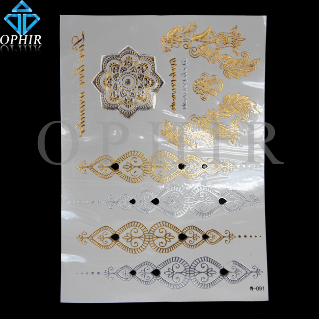 2015 Fashion Metallic Transfer Flash Tattoos Women Makeup Gold Silver Temporary Tattoo For Party Body Paint Tattooing_MT011(China (Mainland))