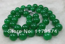 Free shipping High quality fashion woman jewelry Natural 12MM Green Jade Bead Necklace 24inch  xu107(China (Mainland))