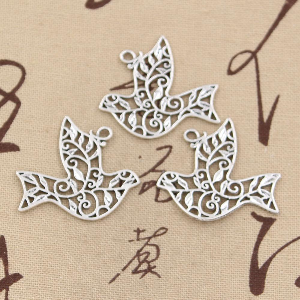 99Cents 4pcs Charms hollow peace dove 36*32mm Antique Making pendant fit,Vintage Tibetan Silver,DIY bracelet necklace