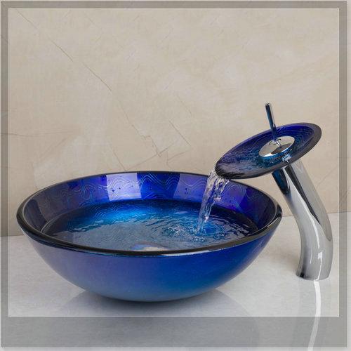 Гаджет  Bathroom Sink Washbasin Tempered Glass Hand-Painted Waterfall 4094-1 Lavatory Bath Combine Brass Set Faucet,Mixers & Taps emergi None Строительство и Недвижимость