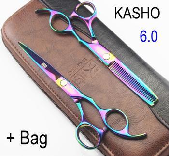 hot sell KASHO rainbow hair cutting scissors high quality,professional barber hairdressing scissors hair thinning shears + bag