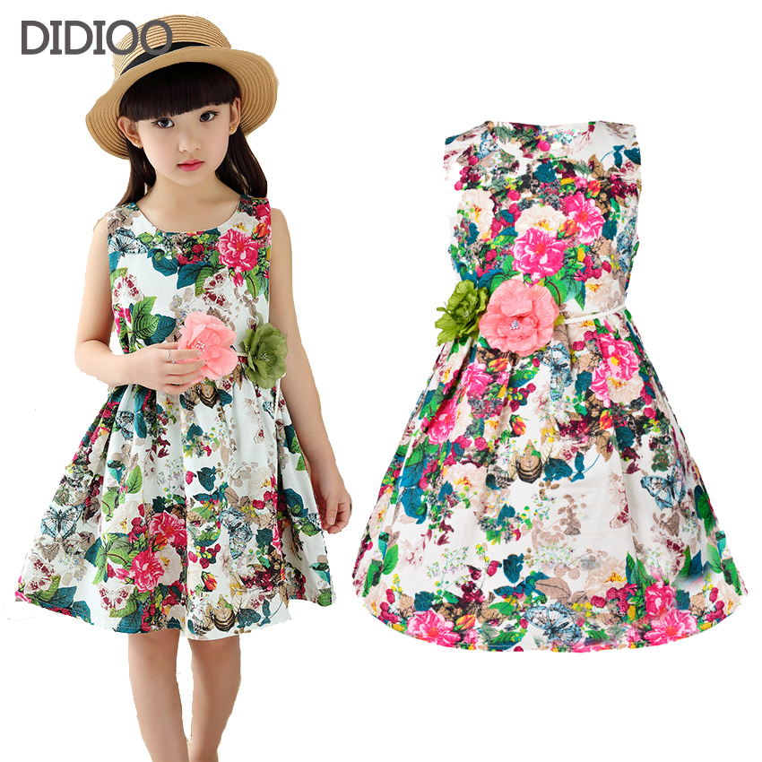 Kids clothing summer dress for girl summer style girl dress floral print cotton birthday party sundress baby children clothes(China (Mainland))