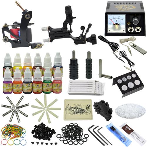 New 2015 Complete tattoo kit &amp; 2 gun machine tattoo power supply &amp; needles ink tip MC-KIT-A2004 10-0068<br><br>Aliexpress