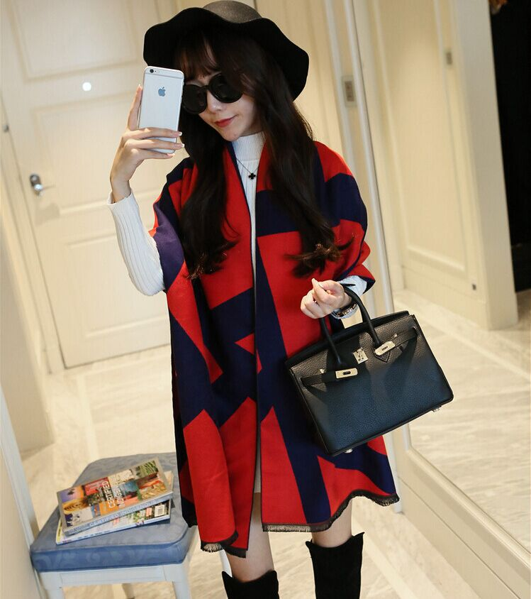 fashion 2016 Poncho designer scarf Women winter thick double-sided color Plaid cashmere warm shawl long for scarves pashmina