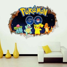 60*90 cm Pokemon Wall Stickers for Kids Rooms Home Decorations Pikachu Wall Decal Amination Poster Wall Art Wallpaper poke mon(China (Mainland))