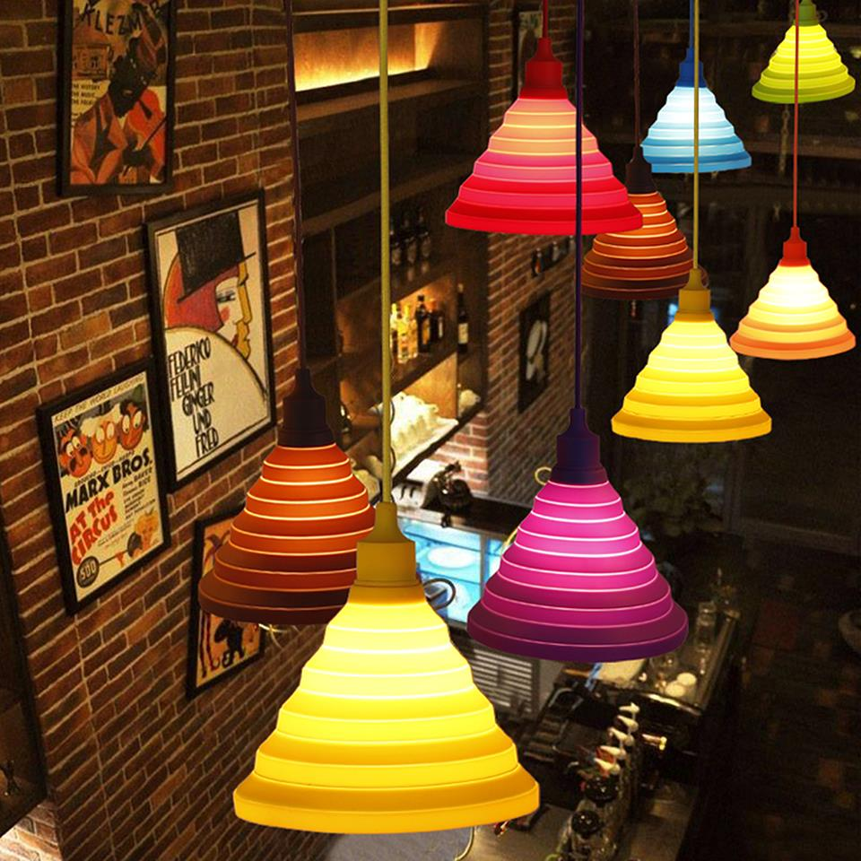 Modern Colorful LED Pendant Lights DIY Personality E27 Silicone LED Pendant Lights With Colors Vintage Edison Pendant lamp light(China (Mainland))