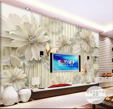 Buy custom 3d stereoscopic wallpaper for walls 3 d HD court jewelry flowers photo mural wallpaper for living room for $18.35 in AliExpress store