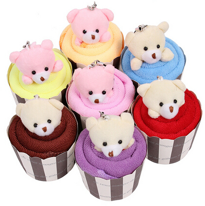 10pcs/lot Hot sale bear cupcake towel wedding christmas gift baby shower favor(China (Mainland))