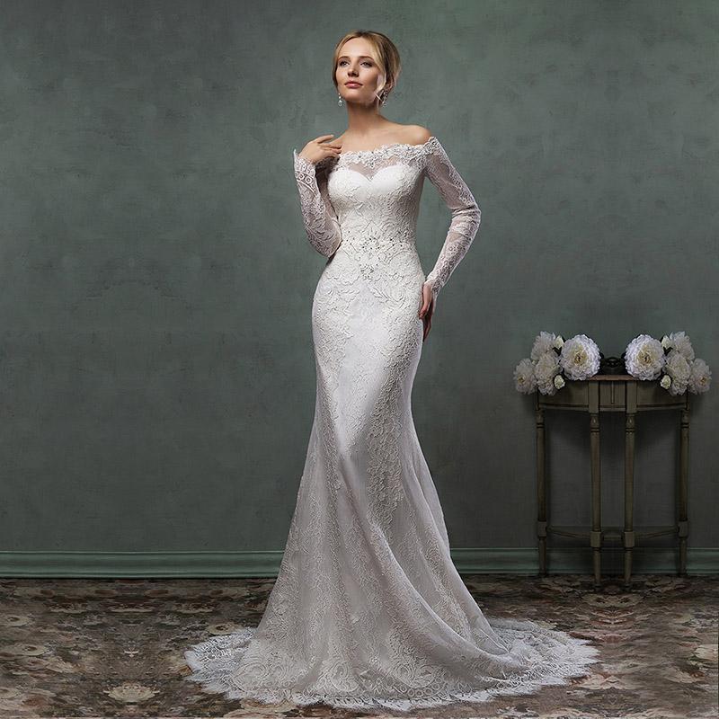 Elegant 2016 Fashion Ivory Lace Illusion Beaded Full Sleeves Court Train Mermaid Wedding Dresses