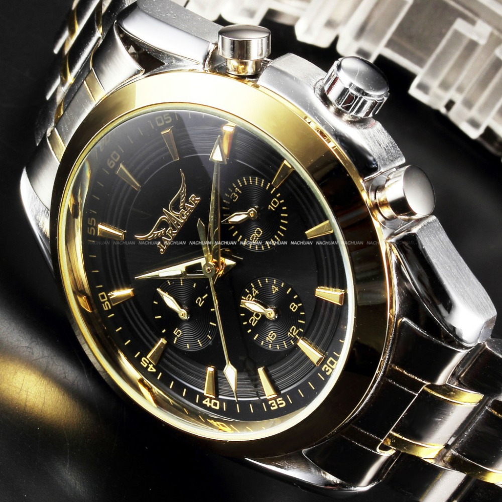 JARAGAR New Black Golden Case Stainless Steel Multifunction Day Date 24 Hours Display Watches Men Luxury Brand Automatic Watch <br><br>Aliexpress