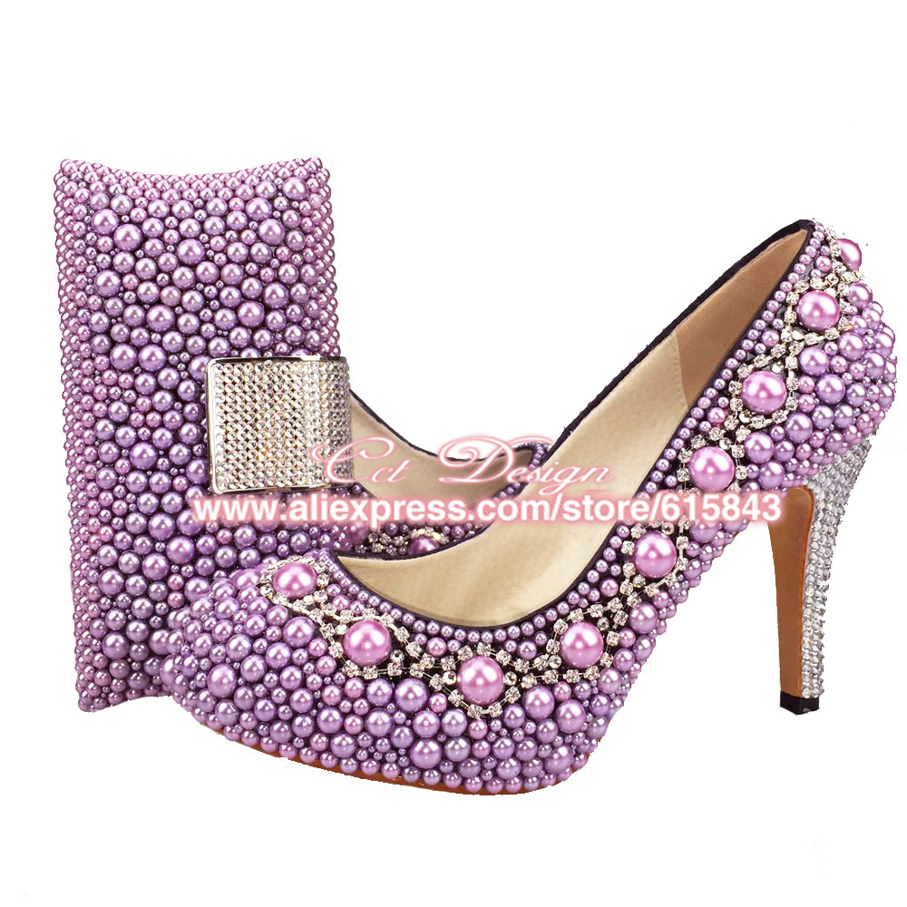 Purple Evening Shoes Low Heel