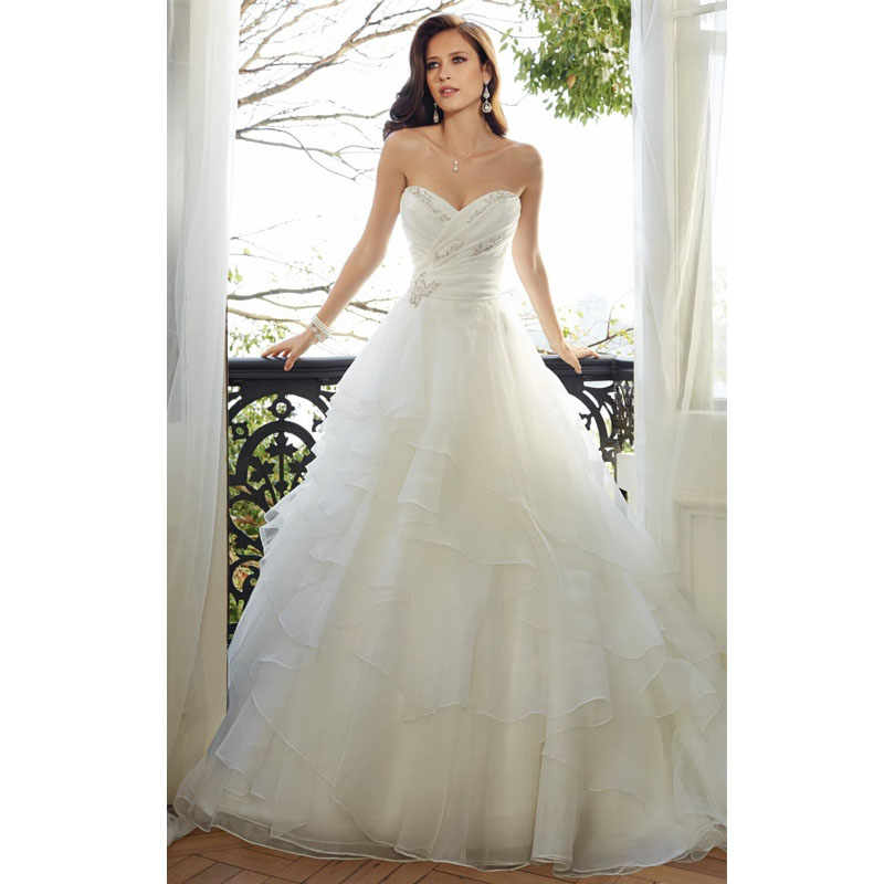 White elegant sweetheart beading organza tiered bohemian for Bohemian style wedding dresses for sale
