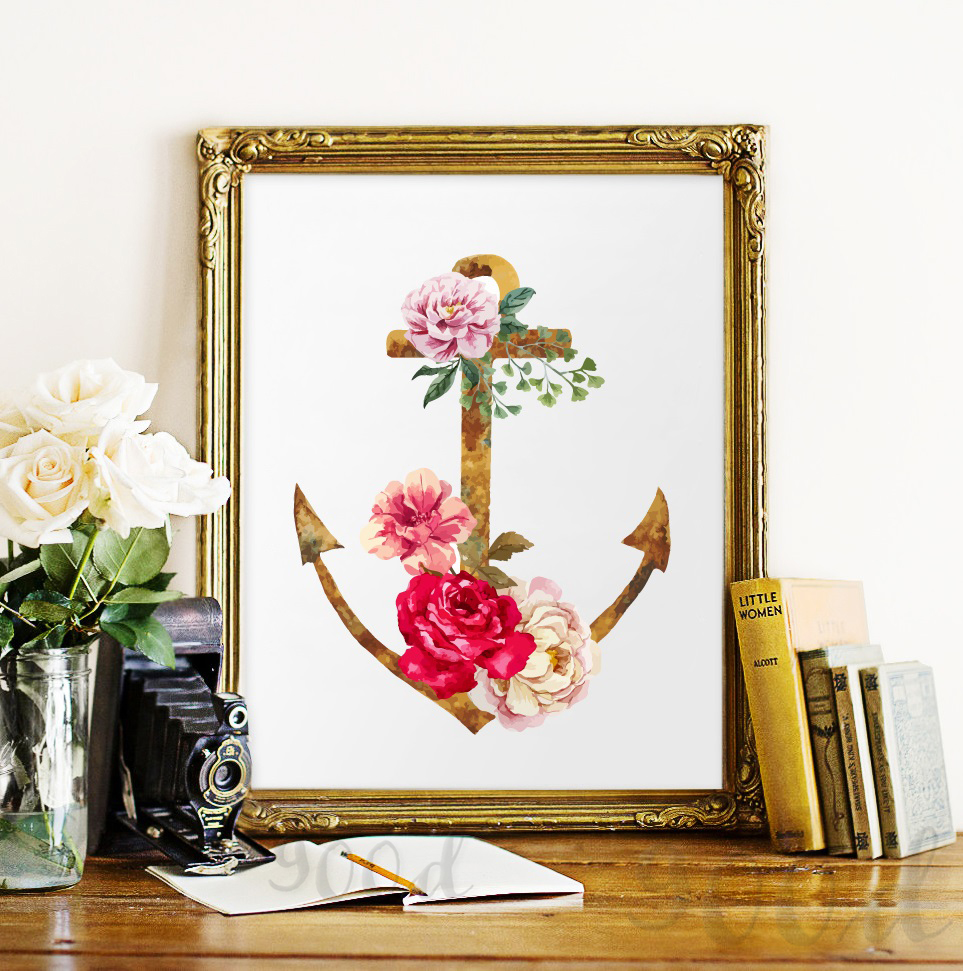 Vintage Flower Anchor Canvas Art Print Painting Poster Watercolor Wall Pictures For Home
