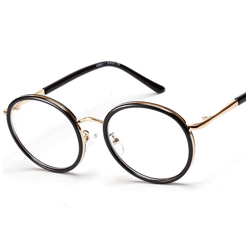 Korean style round glasses frame transparent lens eyewear ...