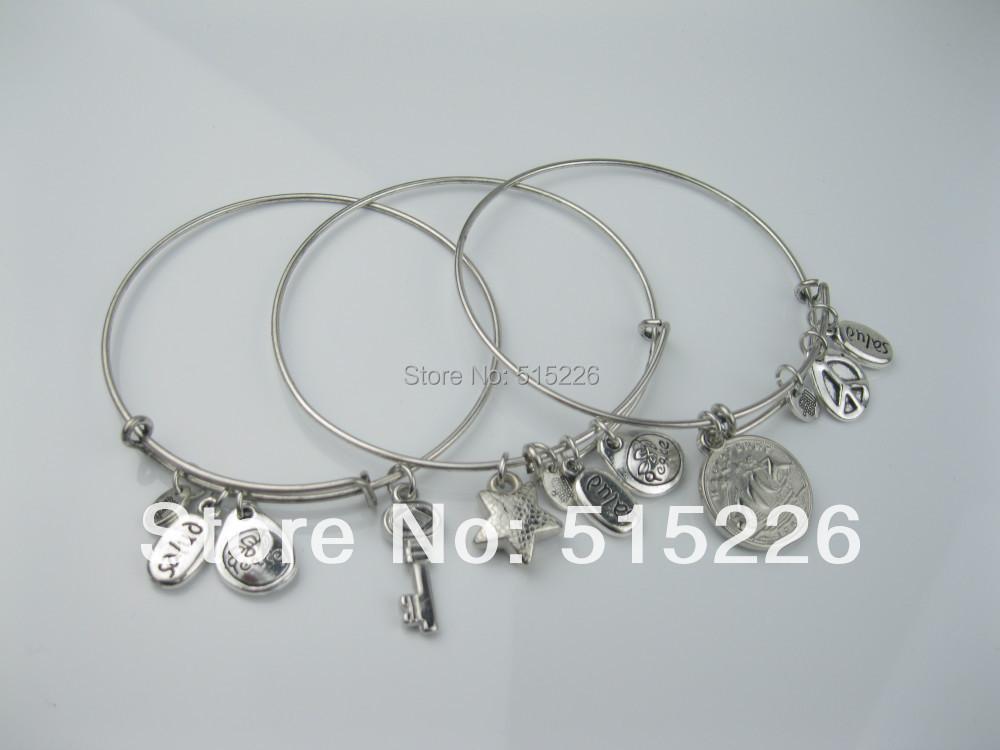 fashion design resin rhinestone stars halfpenny keys multilayer alloy bracelets bangles America - Hi-Look store