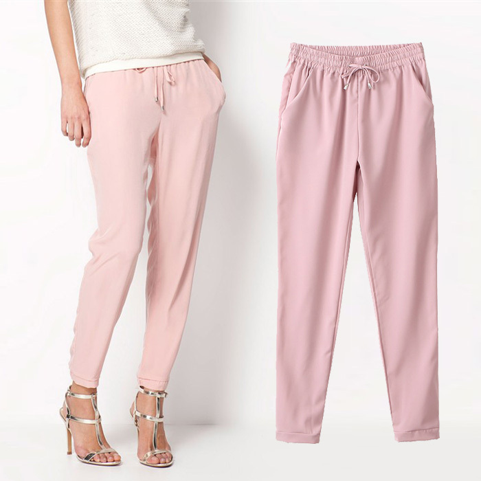 2015 Hot Sale Chiffon Pants Summer Women Pants Casual Harem Pants Drawstring Elastic Waist Pants Plus
