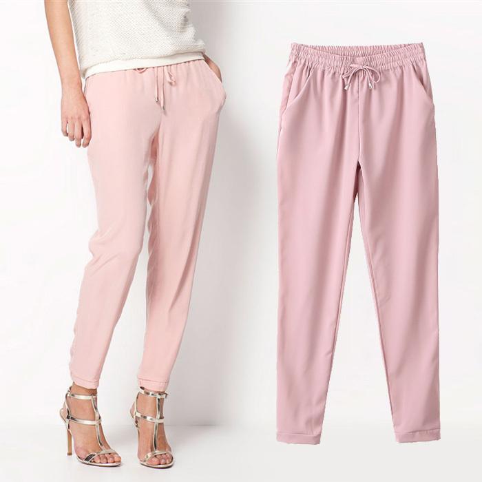 2015 Hot Sale Chiffon Pants Summer Women Pants Casual Harem Pants Drawstring Elastic Waist Pants Plus Size Women Trousers AB17(China (Mainland))